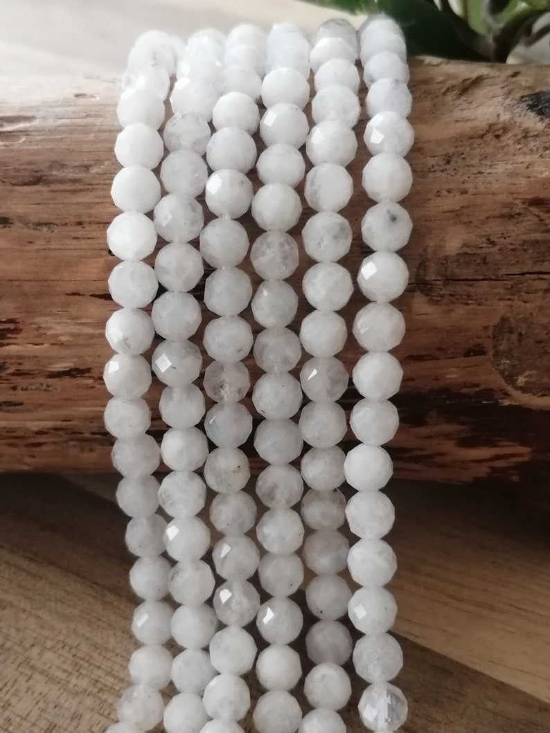 semi-precious round and shiny pearl Size 5 MMBrin about 78 pearls Sri LankaNatural faceted moonstone