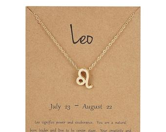 Horoscope Necklace Leo Necklace Leo Lion Necklace Astrological Sign Necklace Zodiac Sign Necklace Zodiac Stars Necklace