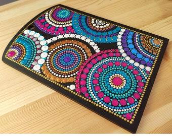 Walnut Multi Color Polka Dot Inlay Kitchen Board with Handle Hole