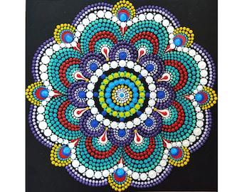 "Dot Mandala Painting Acrylic Hand Painted Boho Wall Art Dotted Home Decor 8 by 8"""