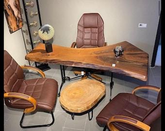 Natural  Solid  American Black Walnut,Walnut Office table,Walnut Desk Live Edge,Live Edge Black Walnut Kitchen Table,Dining Table