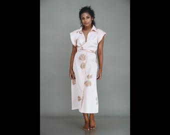 Batik Shirt dress / Front tie Shirt dress / Boho Shirt dress / Midi shirt dress / Floral shirt dress / Gifts for her
