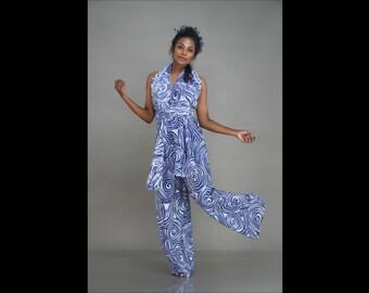 Batik Infinity Jumpsuit / Multi-way Romper / Boho Halter Jumpsuit / Summer Romper / Abstract print Multi-way Jumpsuit