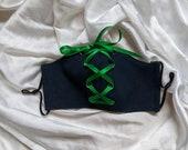 Handmade Face Mask, MEDIUM denim and corset