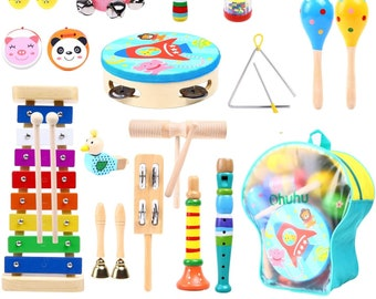Music Instruments for Kids 30 Pcs, Toys Kid Musical Instrument Set for Child with Tuned Xylophone,Storage Backpack Included Birthday Present