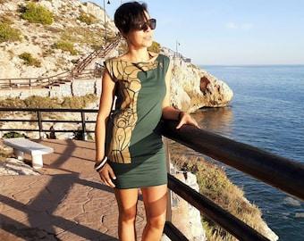 Short green dress, boat neck dress, knit cotton dress, sleeveless, original design, elegant sexy, comfortable dress for womens, mini dress