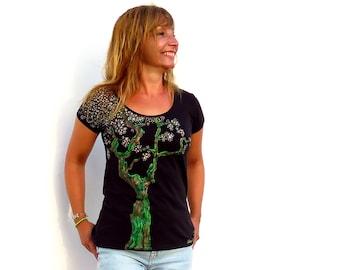 Organic cotton tshirt, hand painted tshirt, short sleeve, scoop neck tee, black t shirt, ethical clothing, unique t shirt – Japanese tree