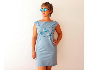 Light blue dress, handmade dress, elegant short dress, eco cotton knit sleeveless dress, boat neck, hand painted clothing, sexy dress