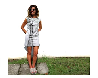 Elegant mini dress, hand painted dress, organic cotton knit dress, boat neck, sleeveless, grey shift dress, artsy clothing, handmade dress