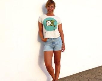 Cropped t shirt, animal print tshirt, cute summer top, organic cotton, beige top, ethical t shirt, original design, unique tops for womens