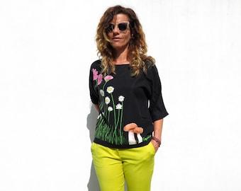 Daisies blouse, elegant black top, floral shirt women, wildflower shirt, handpainted shirt, unique blouse, handmade women shirt, tencel top