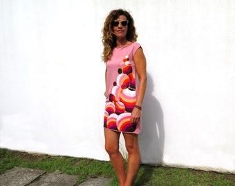 Light pink dress, hand painted dress, pretty short dress, organic cotton knit sleeveless dress, retro shift dress, artsy clothing, boat neck