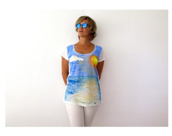 Art tshirt, organic cotton, hand painted, scoop neck, short sleeve, sustainable t shirt, womans t-shirt, white tee, ethical clothing, sunset