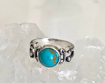 Natural 8mm Turquoise Stone Ring Genuine American-Mined Kingsman 8mm Turquoise 925 Sterling Silver Ring Size 7