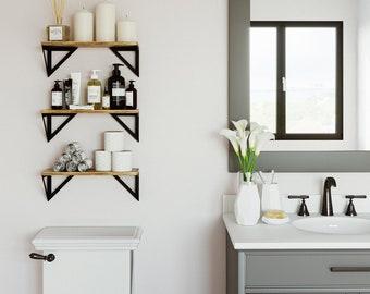 """17"""" Rustic Bathroom Shelf for Bathroom Decor, Wall Mount Bathroom Organizer, Geometric Triangle Shelf – Set of 3"""