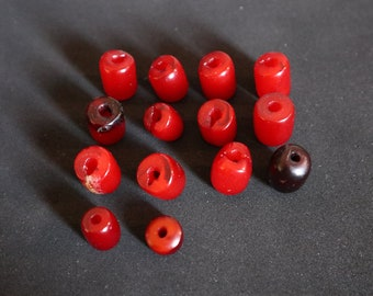 Bakelite Cherry Red Egg Yolk Marbled End of the Day Salt and Pepper Shakers