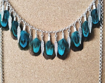 Turquoise Feather Necklace Hippie Boho Festival Jewellery Silver