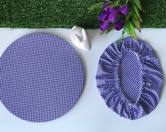 Gingham Fabric Charger Plate Cover | Wedding Sousplat Cover | Wedding Table Setting Decoration | Mother's Day Gift for Her