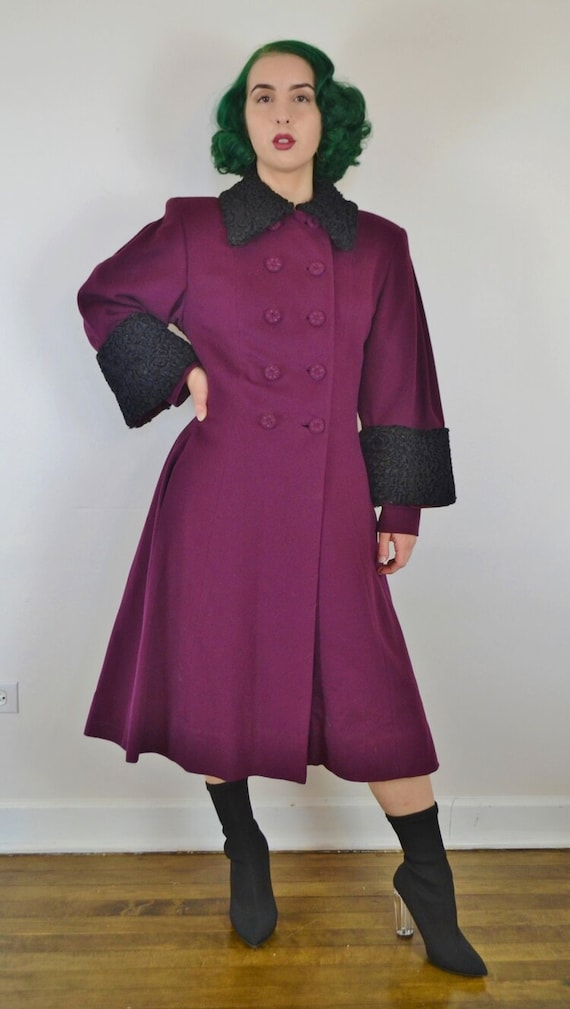 1950's Persian Lamb Purple Wool Princess Coat
