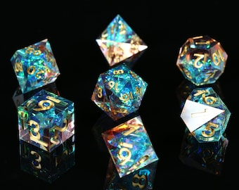 Galaxy Dice/ Sharp Edge Dice Set/ dnd dice set / rpg d20 / polyhedral dice set / Handcrafted dice / tabletop dice set / dungeons and dragons