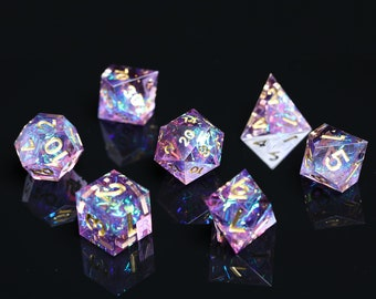 Dnd dice set/ Sharp Edge Dice Set / Galaxy Dice / Rpg d20 / Polyhedral dice set / Handcrafted dice for Tabletop game
