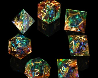 Galaxy Dice/ Sharp Edge Dice Set/ dnd dice set / rpg d20 / polyhedral dice set / Handcrafted dice / tabletop dice set /