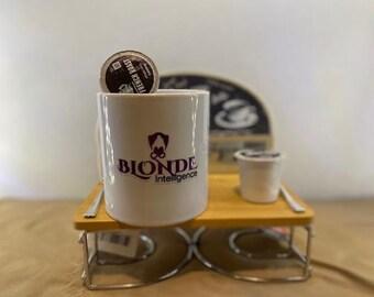 Mini Coffee Beverage Stand and Blonde Intelligence Coffee Mug