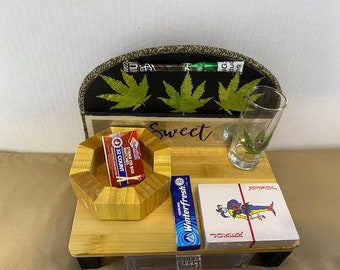 Mini Weed/Jewelry Stand with Drawer, Shot Glass Set, and Accessories
