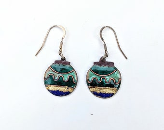 handmade copper enamel bauble earrings