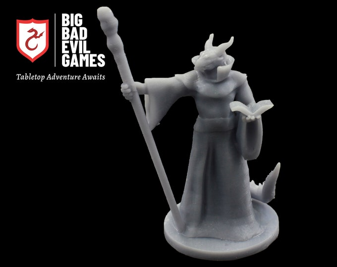 Dragonborn Wizard Miniature   28mm scale D&D mini perfect for tabletop RPGs including Pathfinder