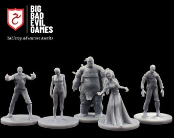 Zombie Miniature Set 1 | this 5 piece undead set of minis is perfect for D&D, Zombicide, Pathfinder and other scale wargames
