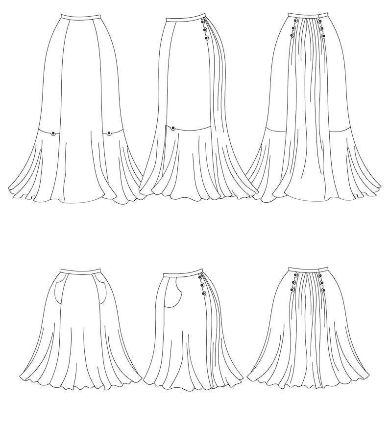 Victorian Swimsuits Patterns, Costumes | Edwardian Bathing Suits     Plus-size Edwardian Walking Skirt & Modernized Knee-length version Ida Walking Skirt $10.00 AT vintagedancer.com