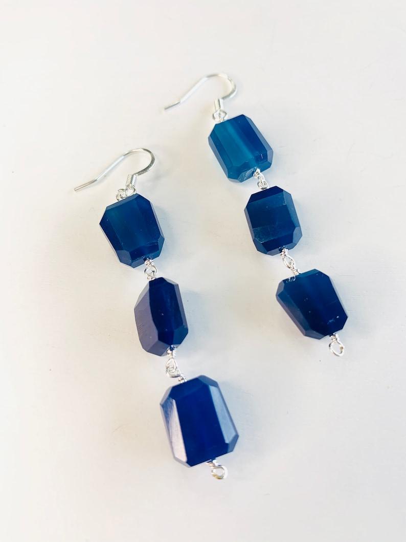 Natural Kyanite Blue Chalcedony Earrings
