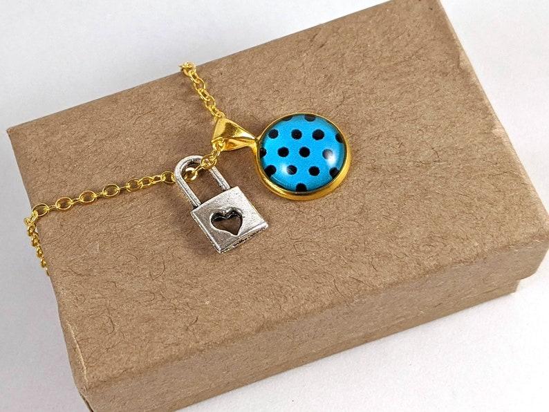 Trendy Vintage Blue with Black Polkadots Bezel Set Glass Charm Necklace