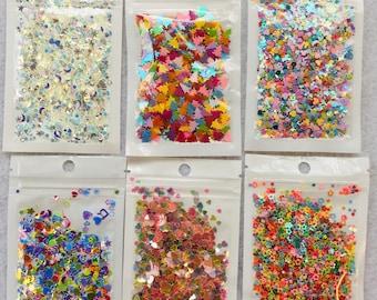 .5 inch Resin art filler Shimmery Coffin Confetti