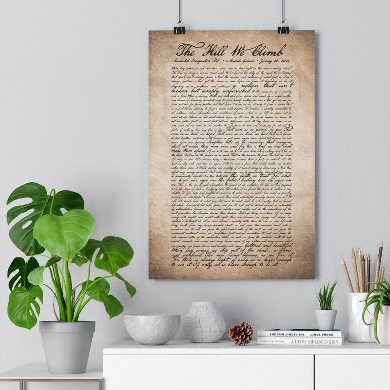 US Constitution American Democracy Amanda Gorman Poem The Hill We Climb Inauguration Poem Brave Enough Quote Be The Light Poster