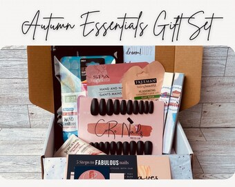 Autumn Essentials Gift Set | Gift for Her | Full Nail Set | Cuticle Oil | Lip Gloss | Facial Clay Mask | Lotion | Gift Box | Holiday