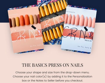 The Basics | Press on Nails | Fake Nails | Square Nails | Oval Nails | Stiletto Nails | Coffin Nails | Single Color | Any Shape & Size