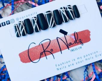 Monochromatic | Press on Nails | Black Nails | Matte Nails | Black Matte Nails | Fake Nails | Stripe Nails | Any Shape and Size