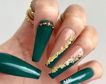 Janel | Press on Nails | Green Nails | Gold Foil Nails | Long Sculpted Coffin | Fake Nails | Fall Nails | Holiday Nails | Any Shape and Size