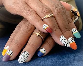 Reading Rainbow | Press on Nails | Short Nails | Rainbow Nails | Fake Nails | Any Size and Shape