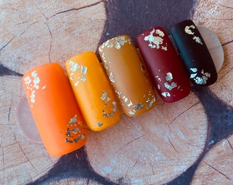 Falling | Press on Nails | Orange | Red | Black | Tan | Gold | Medium Square | Matte Nails | Fall Nails | Any Shape and Size