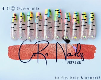 Unicorn Poop | Press on Nails | Mythical | Blue | Pink | Green | Yellow | Extra Long Coffin | False Nails | Any Shape and Size