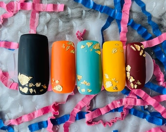 Fall Fever | Press on Nails | Orange | Red | Black | Teal | Gold | Medium Square | Fall Nails | Any Shape and Size | Matte Nails