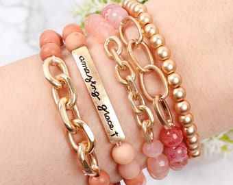 AMAZING GRACE Charm Beaded Bracelet | Set of 5 | Stackable Bracelet | Stretchable | Natural Stone | Glass Beads | Wooden | Various Colors