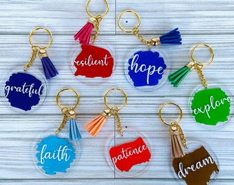Word of the Year Keychain | Round Acrylic Keychain | Key Chain with Tassel | Purse Charm | Backpack Tag | Paint Stroke Background