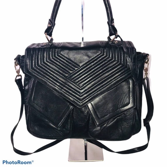Vintage Aqua Madonna Soft Black Leather Satchel Wi