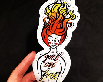 Sticker Girl On Fire