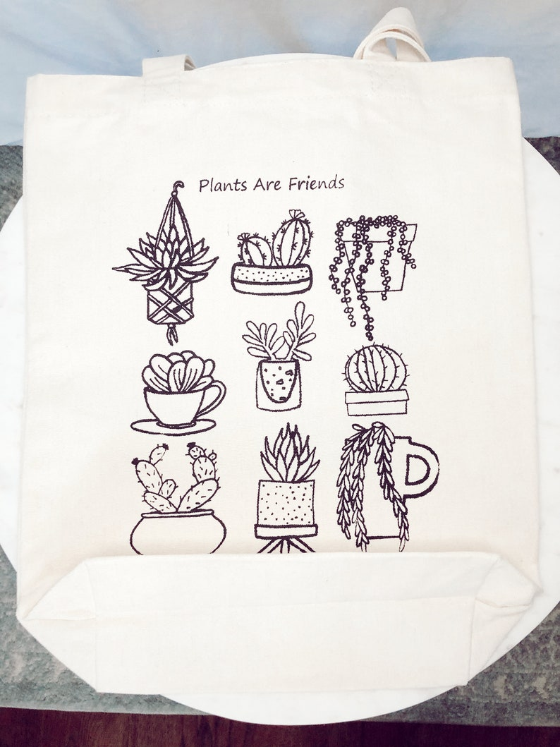 Canvas Tote Bag Design Succulent Aloe Plant Collection Cactus String of Pearls Art Reusable With Inside Pocket