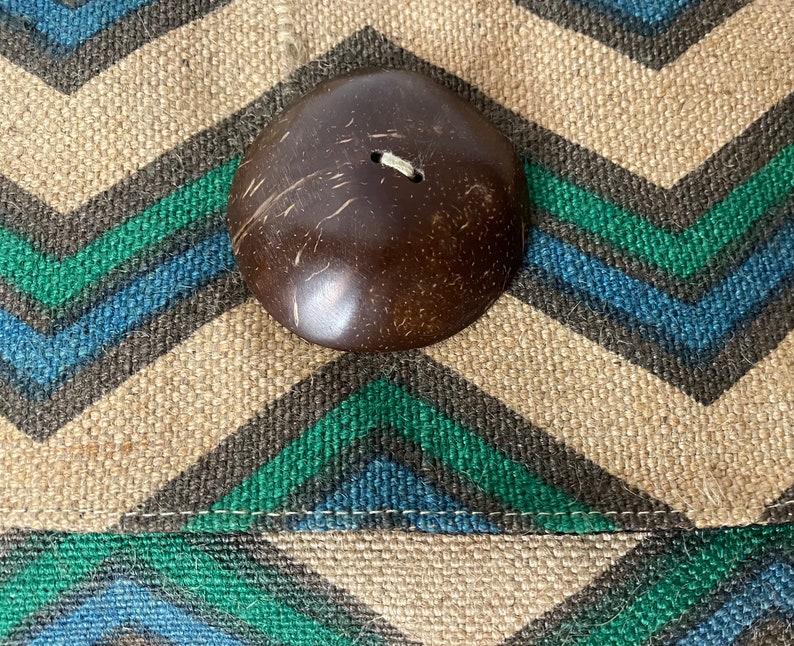 Vintage natural fiber blue green tan clutch button